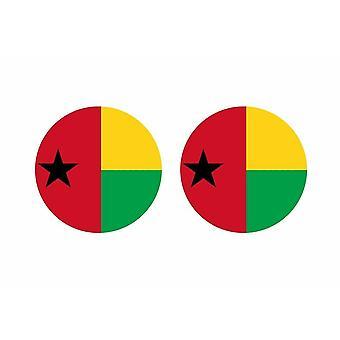 2x stick klistermärke rund cocarde flagga guinee bissau