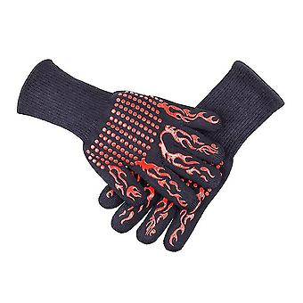 Barbecue gloves with silicone anti-slip stripe heat proof oven 500~800℃ resistant grill