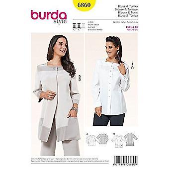 Burda Ladies Plus Storlek Sömnad Mönster 6860 Missar Tunic & Blus Storlek 20-34