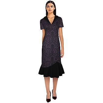 Chique ster plus size fishtail retro jurk in paars / bloemen