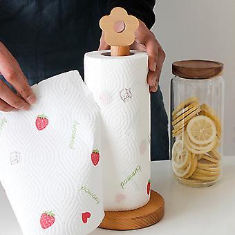 Wooden Roll Paper Towel Holder Kitchen Bathroom Tissue Vertical Stand Napkins Rack Home Kitchen Toilet Storage Accessories