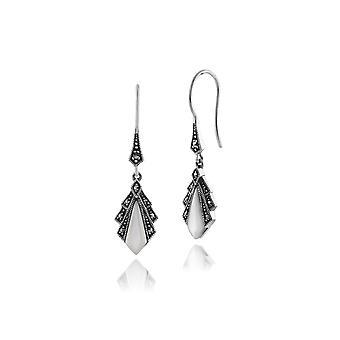 Gemondo 925 Sterling Silver 1ct Mother of Pearl & Marcasite Art Deco Earrings