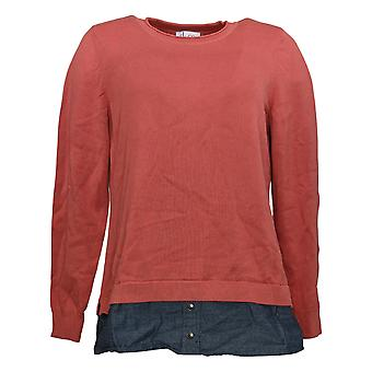 Denim & Co. Frauen's Pullover Langarm 2-fer W / Denim Trim rot A383581