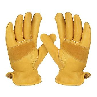 Men's Work Cowhide Gloves Gardening Digging Planting Leather Working Gloves Plant Flower Pruning Protective Glove Driver Security Non-Slip Protection Wear Safety Workers Welding Motorcycle Gloves for Men and Women with Elastic Wrist