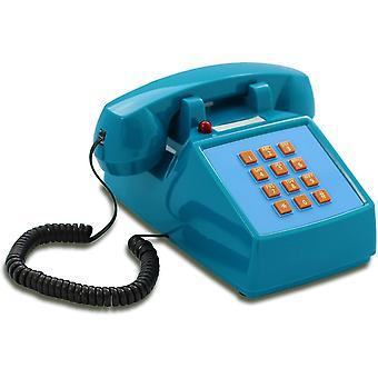 Wokex OPIS PushMeFon Cable: 1970er Retro-Tastentelefon mit klassischer Metallklingel (hellblau)