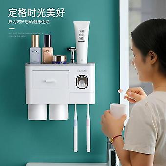 Wall Mount Toothbrush Holder Plastic Automatic Toothpaste Toothbrush Holder Comb Organizer