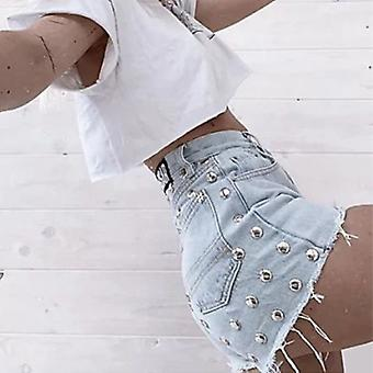 Women's Rivet High Waist Loose Denim Shorts