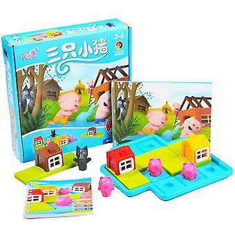 Śmieszne Inteligentne Trzy Małe Piggies 48 Challenge Games IQ Szkolenia Zabawki dla dzieci Prezenty| Bloki