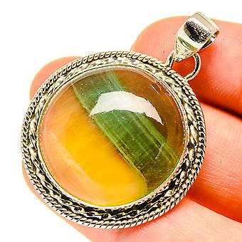 "Green Fluorite Pendant 1 3/4"" (925 Sterling Silver)  - Handmade Boho Vintage Jewelry PD760423"