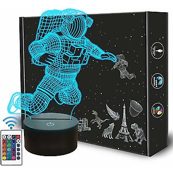 Spaceman 3d Night Light, Astronaut Rocket Optical Illusion Lamp Home Decor Bedroom Light With Remote Control 16 Colors