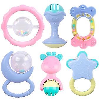 Baby rammelt bijtziekteer set, grijpen grab speelgoed, spin schudden bel (6PCS)