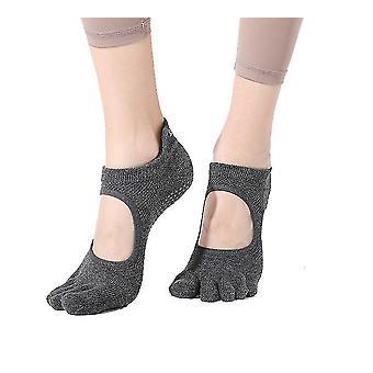 Yoga Fünf Finger Socken Damen Rutschfeste Yoga Socken Professionelle Yoga Socken (Grau)