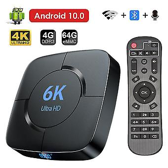 Android 10 TV Box 4GB RAM 64GB ROM Support Dual WiFi 2.4G 5G Compatible with 6K 4K Ultra HD H.265 3D