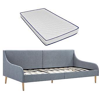 vidaXL day bed frame with memory foam mattress light gray fabric
