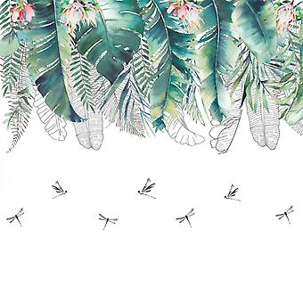 Tropical Leaves Dragon Fly Wall Sticker Decals (size:90cm X 60cm)