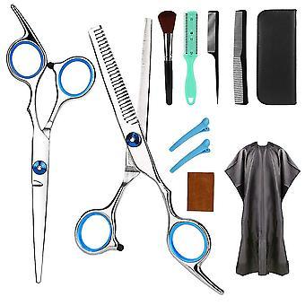 10 pcs / set Coiffure en acier inoxydable Cisailles Outil de coupe de cheveux
