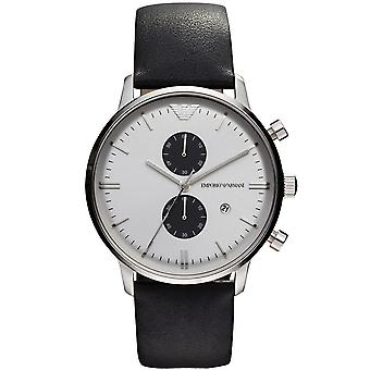 Emporio Armani AR0385 Black Leather Strap White Dial Chronograph Watch