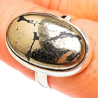 Pirita em Ônix Preto Tamanho 8.25 (925 Prata Esterlina) - Torção de Joias Vintage Boho Artesanal RING75645