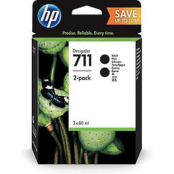 HP 711 2-pakke 80 ml sort DesignJet blækpatron, Høj (XL) kapacitet, pigmentbaseret blæk, 80 ml, 80 ml, 2 stk., Multipack