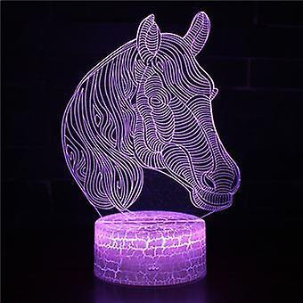 3d Touch Lamp Yövalot Lapsi 7 väriä kaukosäätimellä - Hevonen