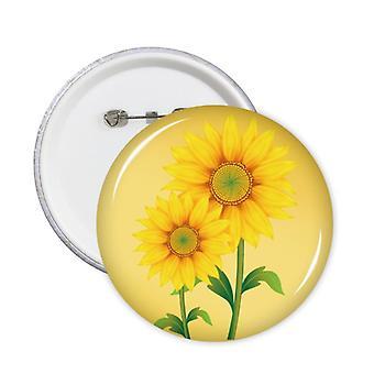 לחצן תג פרח ירוק חמניות צהוב 5pcs