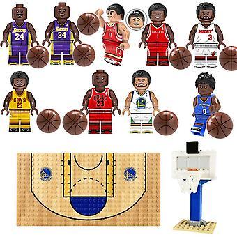 Nba Basketball Building Block Set Basketball Star Kobe Jordan Figurine Basketball Court Basket Stand Boy Building Block Toy