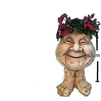 الزوجين القديمة Muggly الوجه النحت الزارع غرامبا الجدة تمثال-1