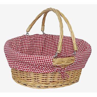 Balanço médio lidar com cesta de compra com cheque de vermelho e branco