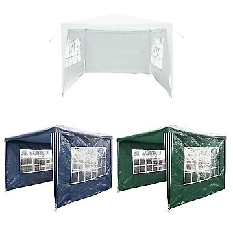 Charles Bentley Garden Gazebo Awning Wedding/Party Tent Made of Powder Coated Steel in White/Blue & Green-3X3M