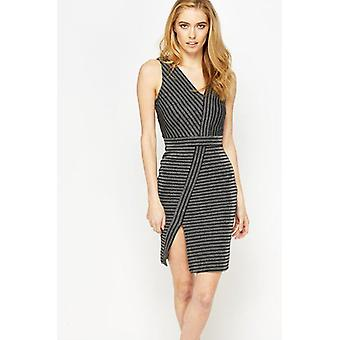 Miss Selfridge Lurex Stripe Asymetric kjole DR851-6