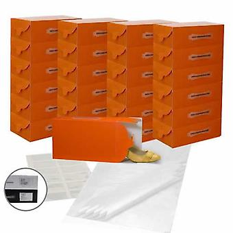 25x Tangerine Ladies Shoe Boxes 30x18x10cm 12 Pockets,25 sheets Acid Free Paper