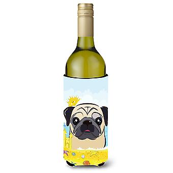 Fawn Pug Summer Beach Wine Bottle beverage Insulator Hugger