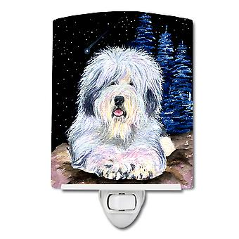 Starry Night Old English Sheepdog Ceramic Night Light
