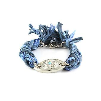 Ettika - Silver Eye Bracelet and Cotton Wool Ribbons Blue and Black 3713