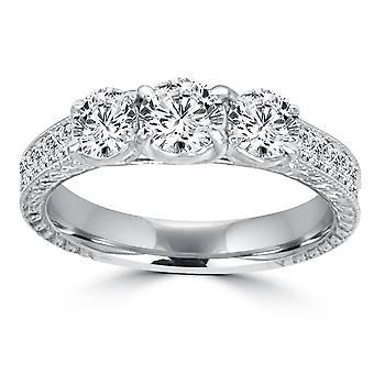 1 1 / 2ct Vintage tre sten rund diamant förlovningsring 14K vitguld (H/SI2)