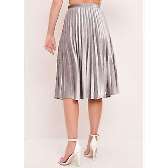 Gris plata la falda Midi plisada de terciopelo