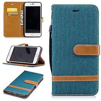 Tasche für Apple iPhone 7 Plus Jeans Cover Handy Schutz Hülle Case Grün