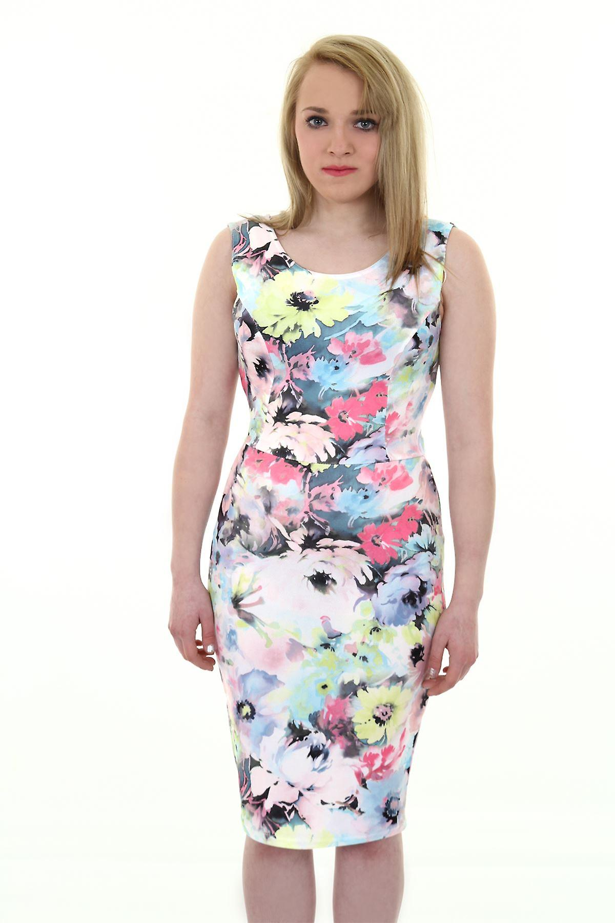 Ladies Sleeveless Pastel Floral Print Cut Out Bow Back Crepe Bodycon Dress