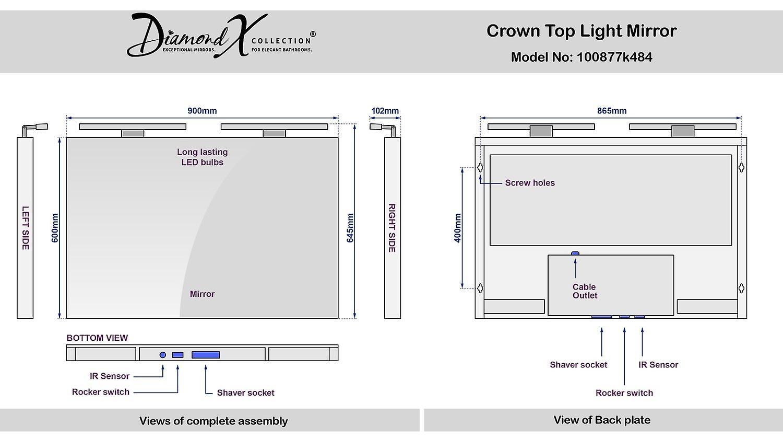 Couronne large haut lumière miroir avec capteur & rasoir socket k484