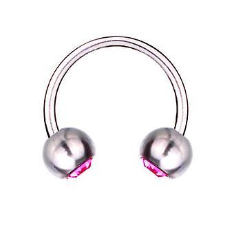 Circulaire Barbell Horseshoe Piercing Titanium 1,2, SWAROVSKI elementen Crystal roze