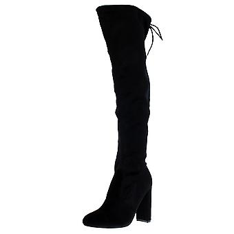 Womens Block Heel Stretch Long Over The Knee Riding Wide Fit High Boots UK 3-10