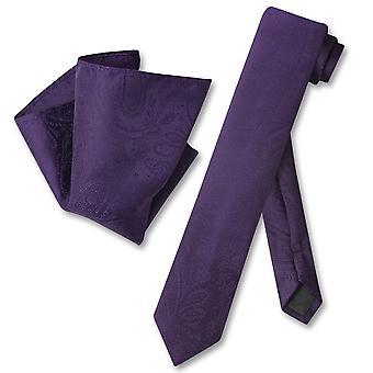 Vesuvio Napoli Skinny NeckTie Paisley férfi nyak tie & zsebkendőjét