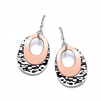 Cavendish French Silver and Copper Oval Drop Earrings
