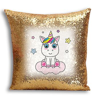 i-Tronixs - Unicorn Printed Design Gold Sequin Cushion / Pillow Cover for Home Decor - 8