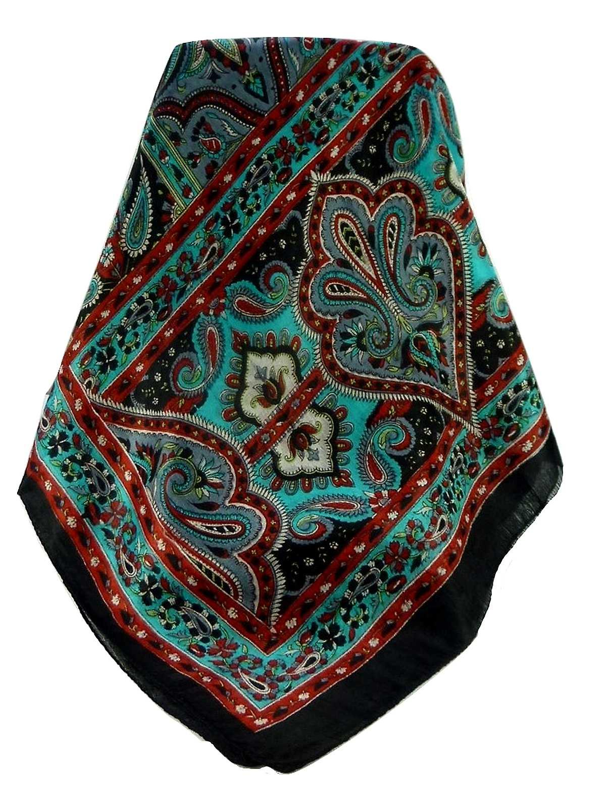 Mulberry Silk Traditional Long Scarf Madh Black by Pashmina & Silk