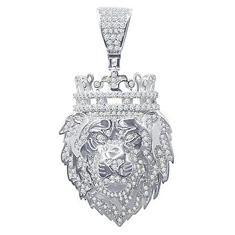 925 sterling silver micro pave pendants - KING LION