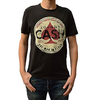 Amplified Johnny Cash The Man In Black Charcoal Crew Neck T-Shirt S