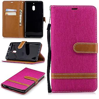 Tasche für Nokia 2.1 Jeans Cover Handy Schutz Hülle Case Pink