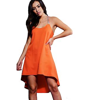LYDC London Orange Dip Hem Dress With Crystal Strap Detail
