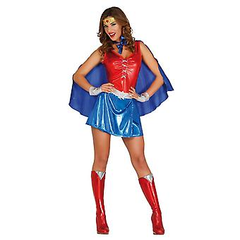 Womens Red & blauwe superheld Fancy Dress kostuum